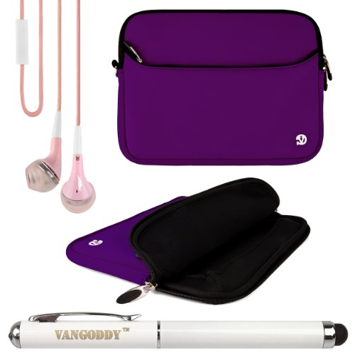 Neoprene Sleeve Cover W/ Handstrap For Archos Platinum Helium Xenon Carbon Cobalt 8-Inch Tablets + Laser Stylus Pen + Pink Headphones (Purple)