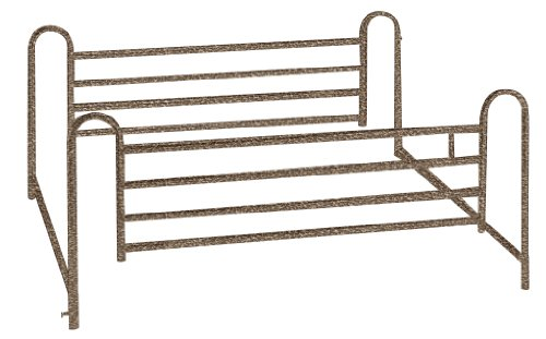 Drive Medical Deluxe Full Length Hospital Bed Side Rails, Brown Vein