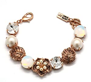 Amaro Jewelry Studio 'Pearl Gem' Collection 24K Rose Gold Plated Flower and Leaf Elements Bracelet Crafted with Mother of Pearl, Pearls, Crescent Moonstone, Opal and Swarovski Crystals; 6.3 inches