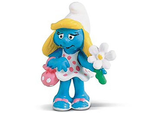 "Smurfette with Flower ~2.1"" Mini-Figure: Schleich Mini Figure Series [204218] - 1"