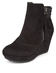M&S Collection Faux Suede Platform Wedge Ankle Boots with Insolia®