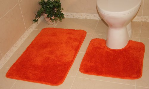 Bolero Tangerine Orange Bath and Pedestal Bathroom Mats 2 Piece Set 1059 - 2 Sizes