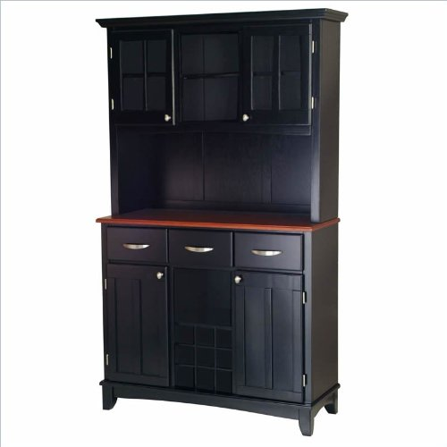 Home Styles Large Wood Buffet with Cherry Wood Top and 2-Door Hutch in Black