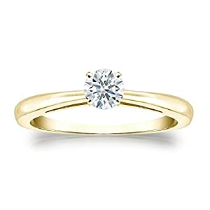 Jewel Oak 1/3 ct. tw. Hearts & Arrows Diamond Solitaire Ring in 14k Yellow Gold (F-G, SI1), Size 4