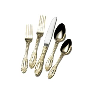 Wallace Gold Plate Duchess 18/10 65-Piece Flatware Set, Service for 12