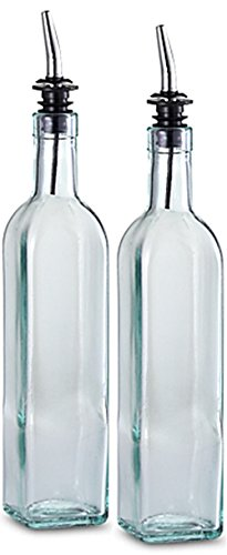 FineDine Oil Dispenser 16oz. Glass Cruet with Stainless Steel Tapered Spout (2 Pack) (Olive Oil And Vinegar Container compare prices)