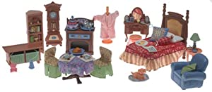 Loving Family Dollhouse Additions Gift Set: Parent's Bedroom, Living Room and Dining Room