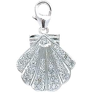 14K White Gold Diamond Seashell Charm