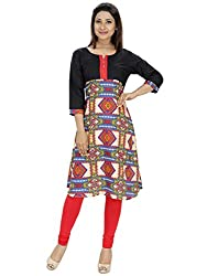 Tanvi White & Black Cotton Straight Kurti For Women