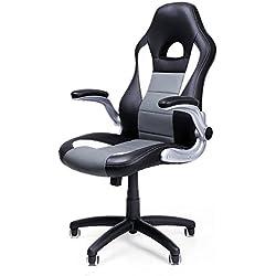 Songmics Ufficio Girevole Poltrona Sedia Sportivo Racing Chair Braccioli regolabile OBG28G
