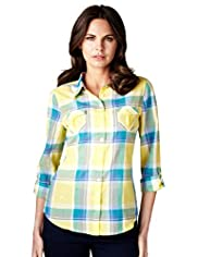 Per Una Pure Cotton Checked Shirt
