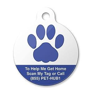 PetHub PCBPNM Blue Paw Pet Premium Tag, Medium