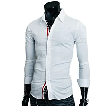 Zehui Mens Fit Casual Dress T-shirts Solid Color Long Sleeves White Tag XXL