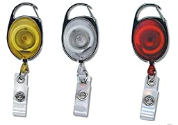 Three Pack, Translucent Carabiner ID/Name/Card Holder/Retractable Reel.