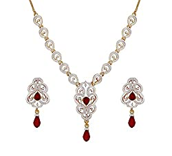 Sempre Of London Ruby Red Imperial Cz Crystal Diamonds Pendant Necklace With Earrings For Women