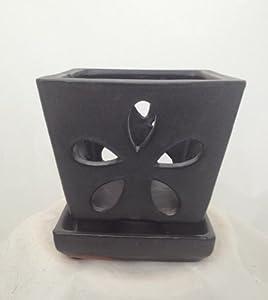 "Square Ceramic Orchid Pot/Saucer plus Felt Feet - 4.25"" x 4"" - Charcoal Brown"