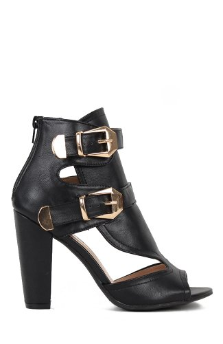 Bumper Nyla-03 Open Toe Cut-Out Buckle Ankle Sandal - Black Gold