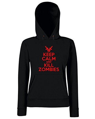 Cotton Island - Felpa Donna Cappuccio TZOM0043 keep calm and kill zombies white, Taglia L