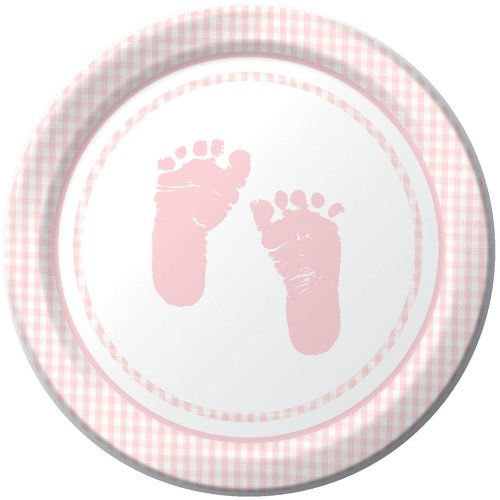 Plaid It's a Girl Footprints Dessert Plates, 8ct, Baby Shower Supplies and Decor - 1