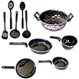 Dugri Enamle Cookware Set 5 Cookware Set With Plastic Kadchhi