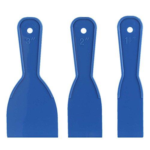 """3pc Plastic Putty Knife Set - 1-1/2"""", 2"""", 3"""" - Rustproof & Flexible"""