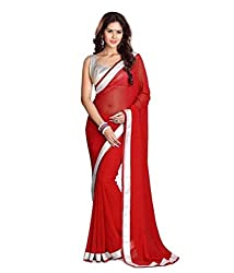 SB Creations Women's Pure Georgette Saree (SB_134_Red)