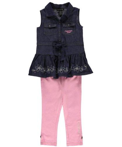 Calvin Klein Girls 2-6X Denim Tunic Set with Leggings, Blue, 3T
