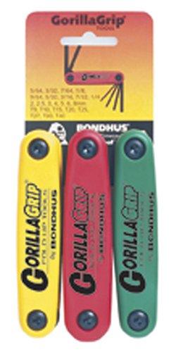 Bondhus 12533 GorillaGrip Hex and Star Fold-up Triple Pack, 12587 (2-8mm), 12589 (5/64-1/4-Inch) & 12634 (T9-T40) (Tamaño: ?ne ???k)