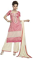 AAINA Women's Georgette Unstitched Dress Material (Pink)