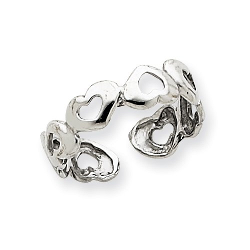 Adjustable 14k White Gold Heart Toe Ring Real Goldia Designer Perfect Jewelry Gift for Christmas