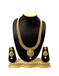 Long Antique & Traditional Gold Design Beautiful Immitation Necklace Jewellery Set