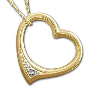 CLEVER SCHMUCK Goldener Anhänger Herz 16 mm Diamant 0,005 carat mit Kette Panzer 45 cm, glänzend, beides ECHT GOLD 333 (F) neu