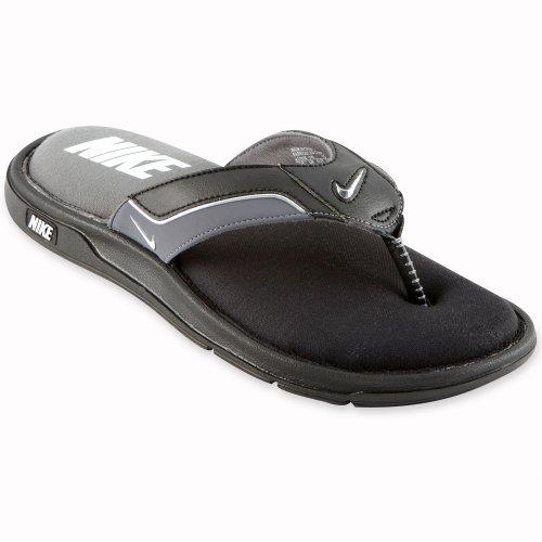 Nike Mens Comfort Thong Sandal Black/Silver Size 8