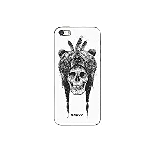 RICKYY _ip5_ 1305 Printed matte designer Skull Wearing Bear case for Apple iPhone 5