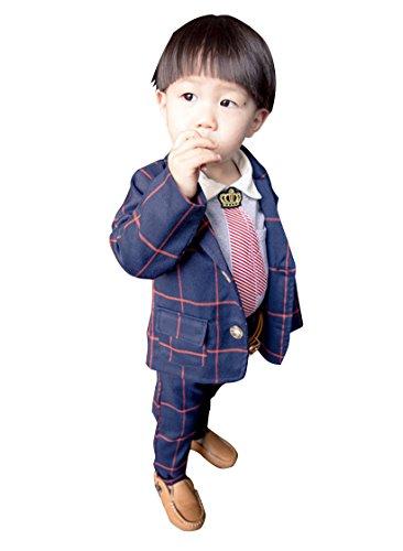 子供服 チェック柄 フォーマルスーツ 男の子 紳士服 七五三 誕生日 入園式 洋服 上下セット Ruleronline (80cm(お勧め身長75-80cm), 紺(コン))