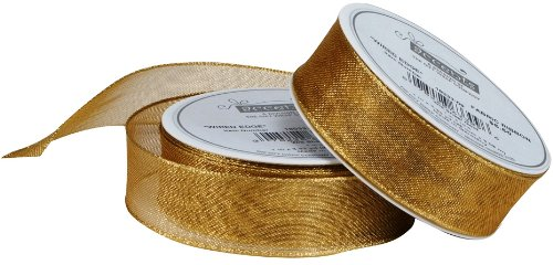 "The Gift Wrap Company Wired Edge Sheer Ribbon, 1"", Gold"