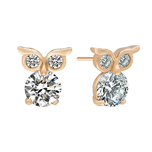 Romantic Time Lovely Night Owl Zirconia Novelty 18k Rose Gold Plated Stud Earrings