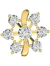 TBZ - The Original Floral 18k Yellow Gold And Diamond Nosepin - B01BD4NC42