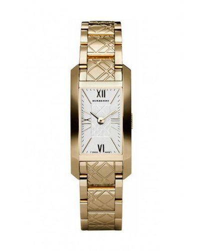 New BURBERRY BU1093 Women's Gold Tone Check Engraved Watch