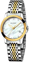 Gucci Womens YA126513 Gucci Timeless Steel and Yellow PVD