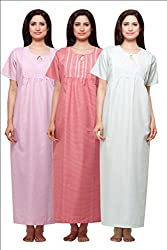 Trendy Round Neck Terry Cotton Half Sleeve Nighty/Maternity Gown Pack of 3