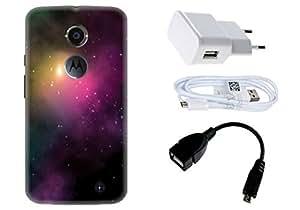 Spygen Motorola Moto X2 (2nd Gen) Case Combo of Premium Quality Designer Printed 3D Lightweight Slim Matte Finish Hard Case Back Cover + Charger Adapter + High Speed Data Cable + Premium Quality OTG