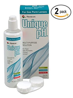 Menicon Unique pH Multi-Purpose Solution + RGP Lens Case. TWO 4 fl oz (120ml) bottles