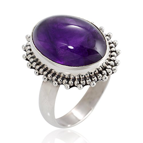 925 Oxidized Sterling Silver Natural Amethyst Gemstone Oval Shaped Vintage Band Ring Size 8 (Sterling Gem Rings compare prices)