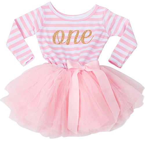 NNJXD Girl Shinny Stripe Baby Girl Long Sleeve Printed Tutu Dress Light Pink 10-12 Months