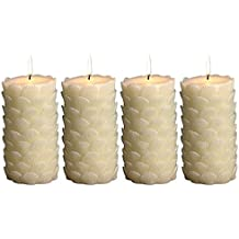 Biedermann & Sons 4 Count Seashell Pattern Pillar Candles, 3 By 6-Inch, Ivory