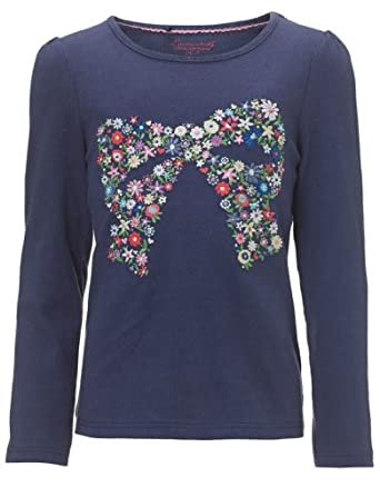Monsoon Girls Pippa Embroidered Bow T-Shirt Size 3-4 Years Navy