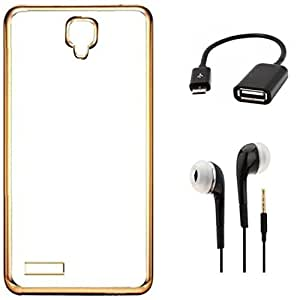 Tidel Golden border Soft Flexible TPU Back Cover for Xiaomi Redmi Note 4G- Golden With 3.5mm Earphone & Micro OTG Cable