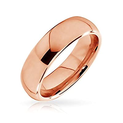 King Will 6mm Classic Rose Gold Plated High Polished Comfort Fit Domed Tungsten Ring Wedding Band