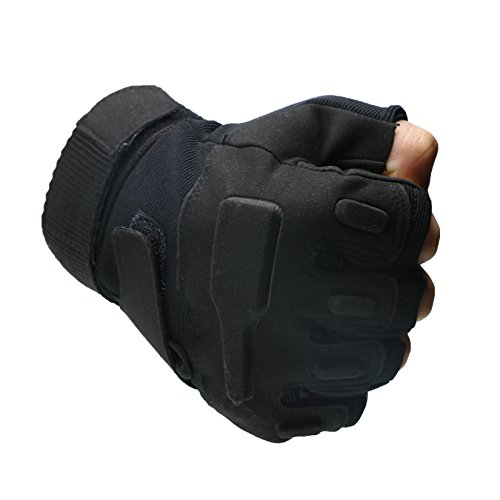 Quality Outdoor Mountain Bike Gloves Racing Riding Motorcycle Gloves Tactical Wild CS War Games Half Finger Gloves 1 Pair(Black-L)